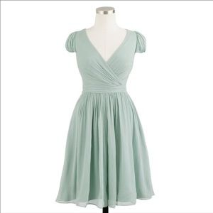 J Crew Silk Chiffon Dress in Dusty Shale for sale